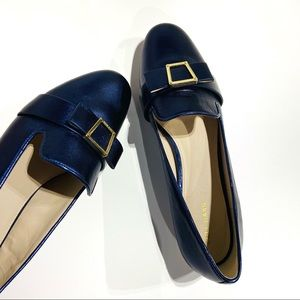 Cole Haan Emory Blue Smoking Loafers G18 Gold Bow